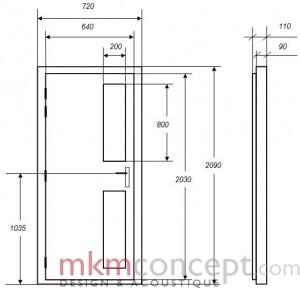 Croquis des dimensions d'une porte acoustique MKMconcept modèle ISO-P2V