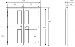 Croquis des dimensions d'une porte acoustique MKMconcept modèle ISO-DP2V