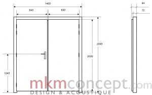 Croquis des dimensions d'une porte acoustique MKMconcept modèle ISO-DPS