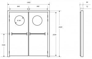 Croquis des dimensions d'une porte acoustique MKMconcept modèle ISO-DPO