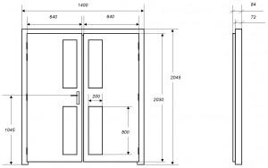 Croquis des dimensions d'une porte acoustique MKMconcept modèle ISO-DP2V Plus