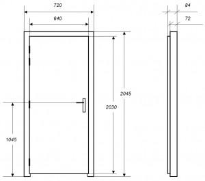 Croquis des dimensions d'une porte acoustique MKMconcept modèle ISO-PS