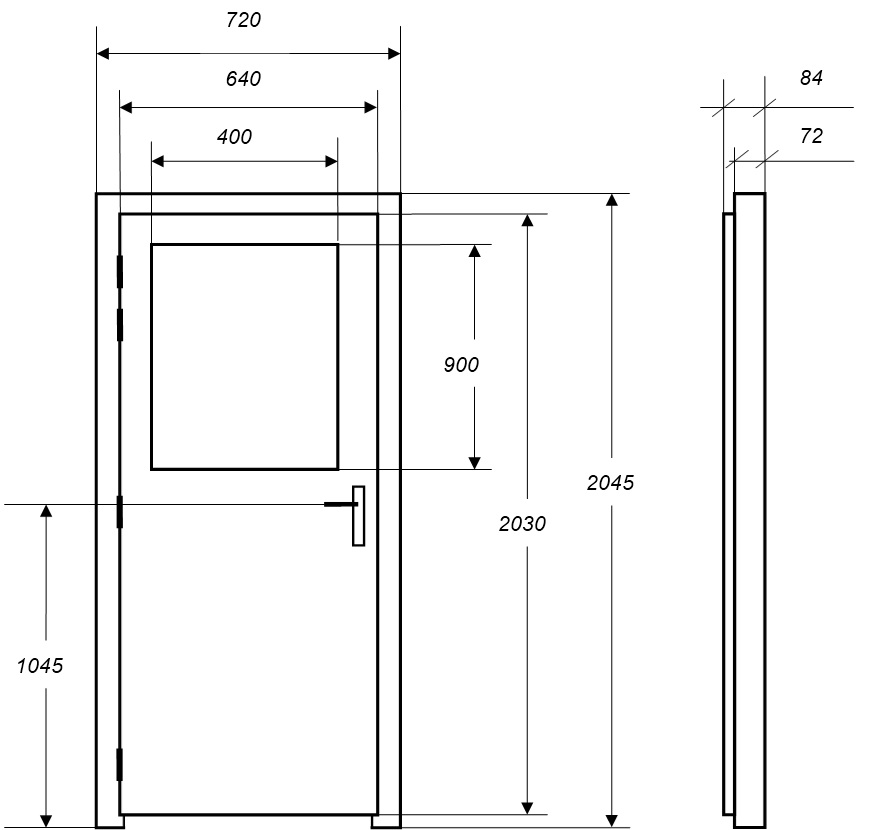 Dimensions bloc porte for Largeur porte interieur standard