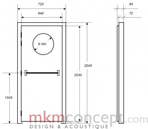 Croquis des dimensions d'une porte acoustique MKMconcept modèle ISO-PO Plus